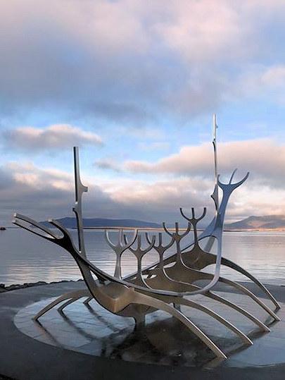 scuplture of viking boat Reykjavik on a budget