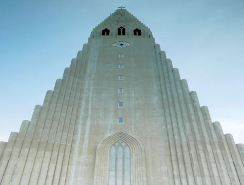 stone cathedral tower Reykjavik Iceland