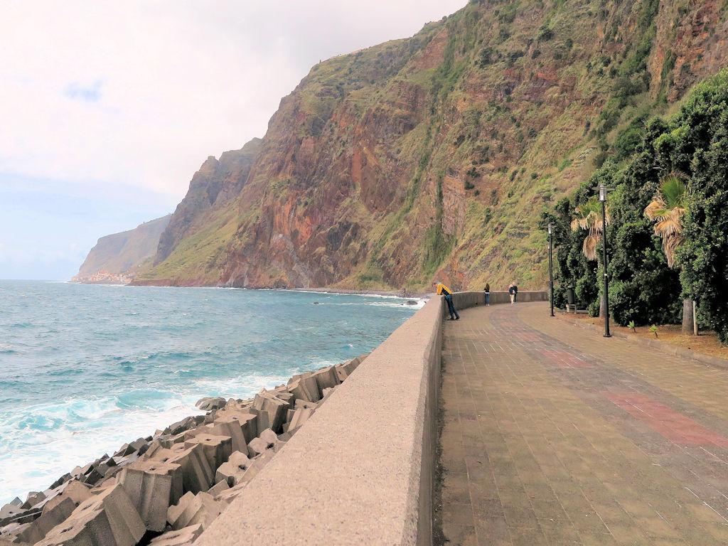 conrete promenade between tall cliffs and sea, Madeira walks