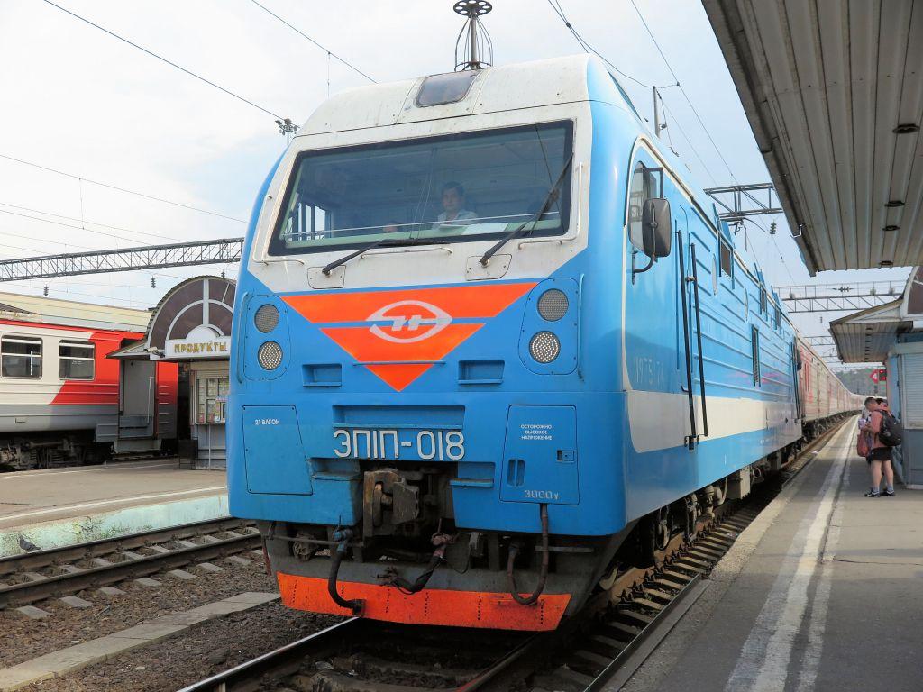 a Trans siberian train on the Trans Siberian Railway