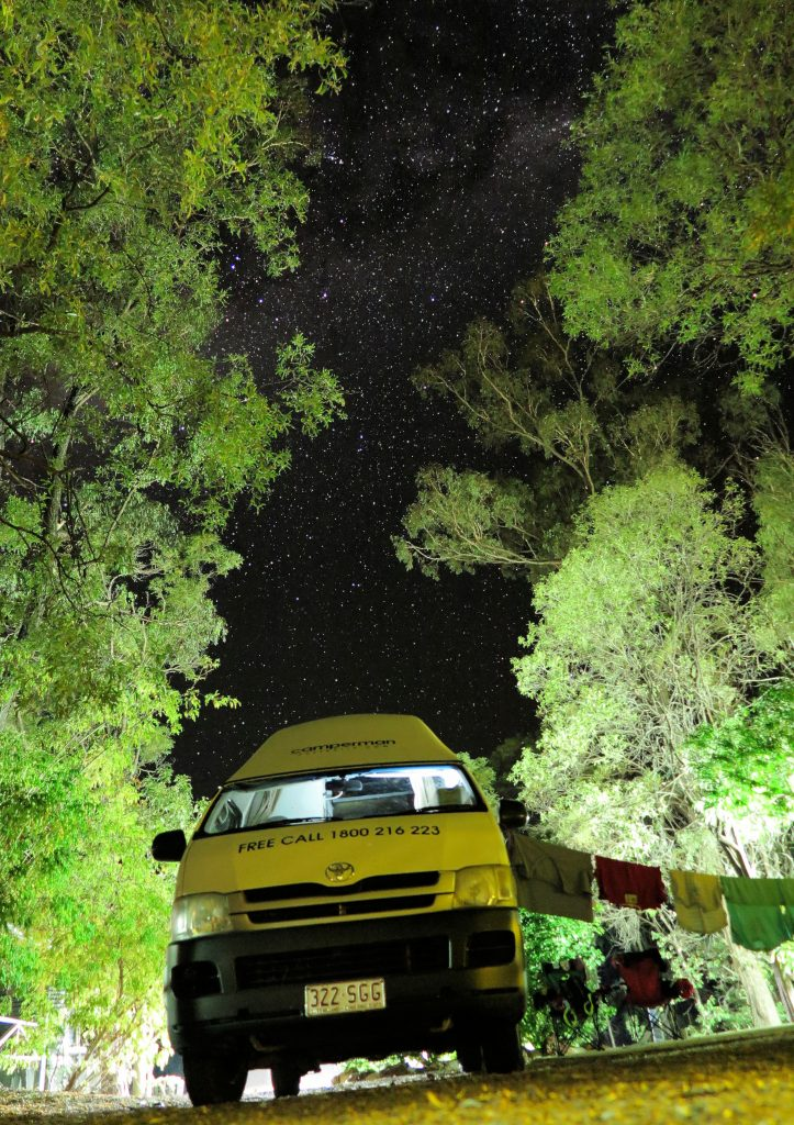 campervan under a starry sky