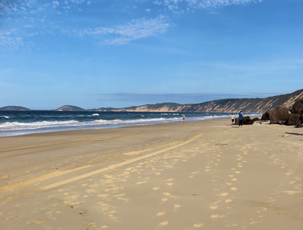 yellow sand and blue sky at Rainbow Beach Australia