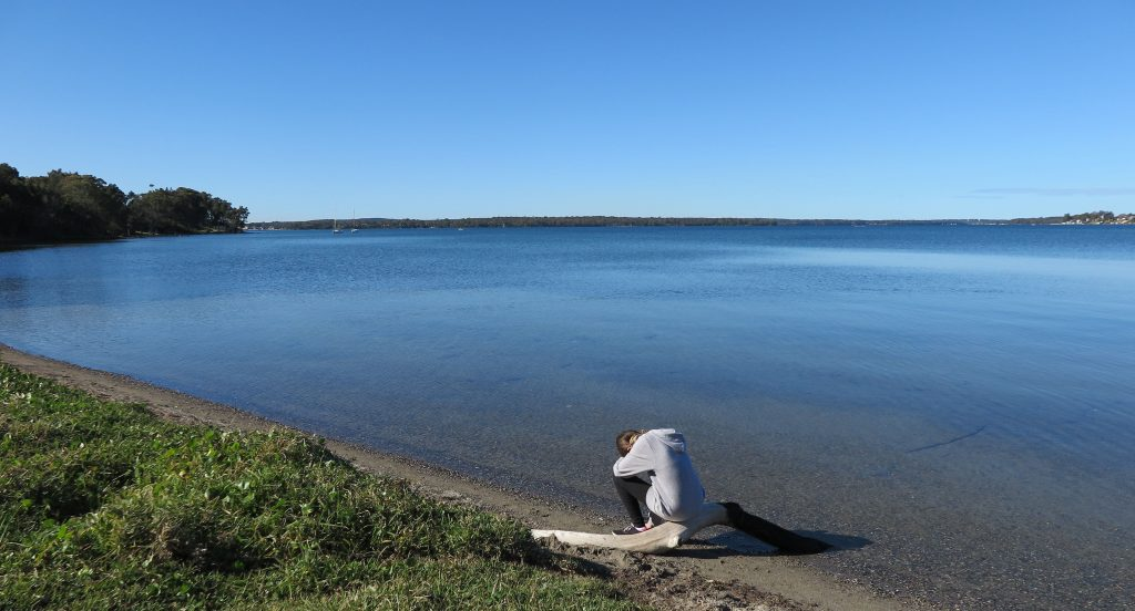 sitting by Lake Macquarie