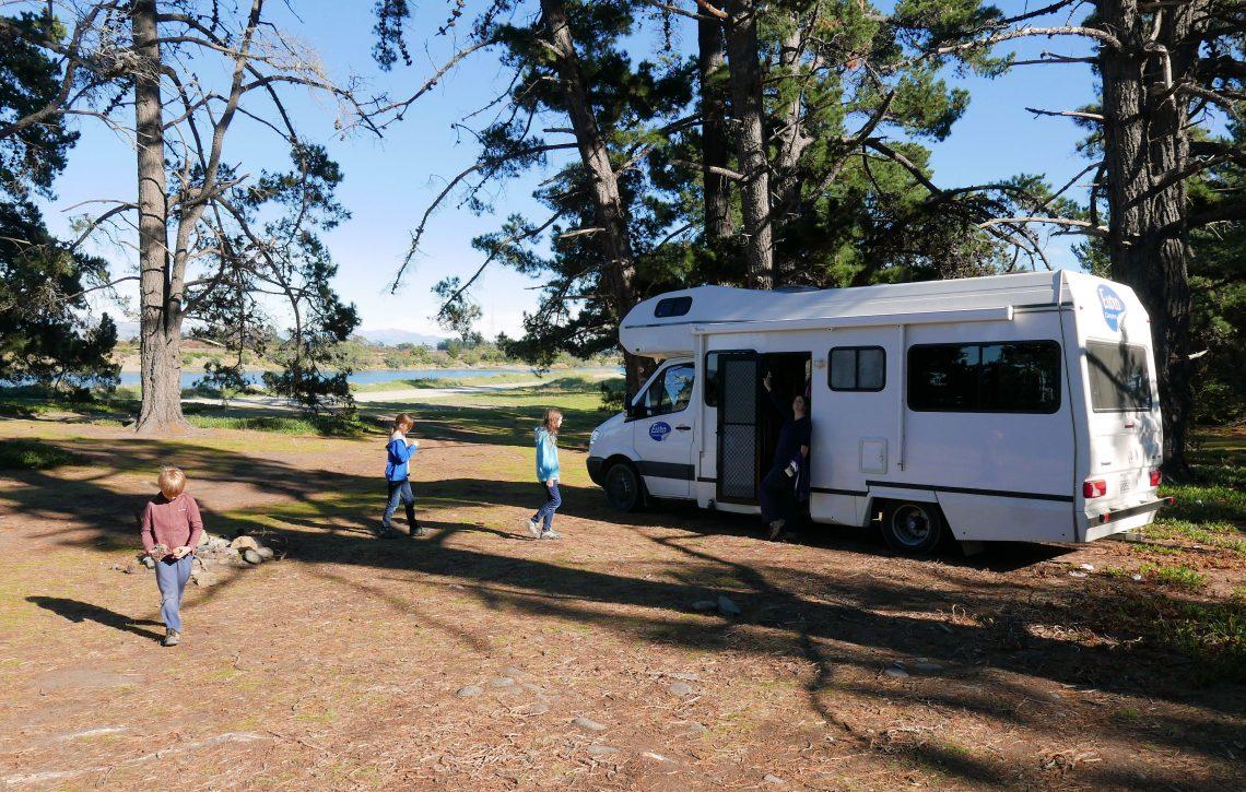 campervan trip New Zealnd camping spot under trees