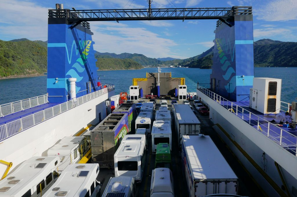 New Zealand campervans on a ferry