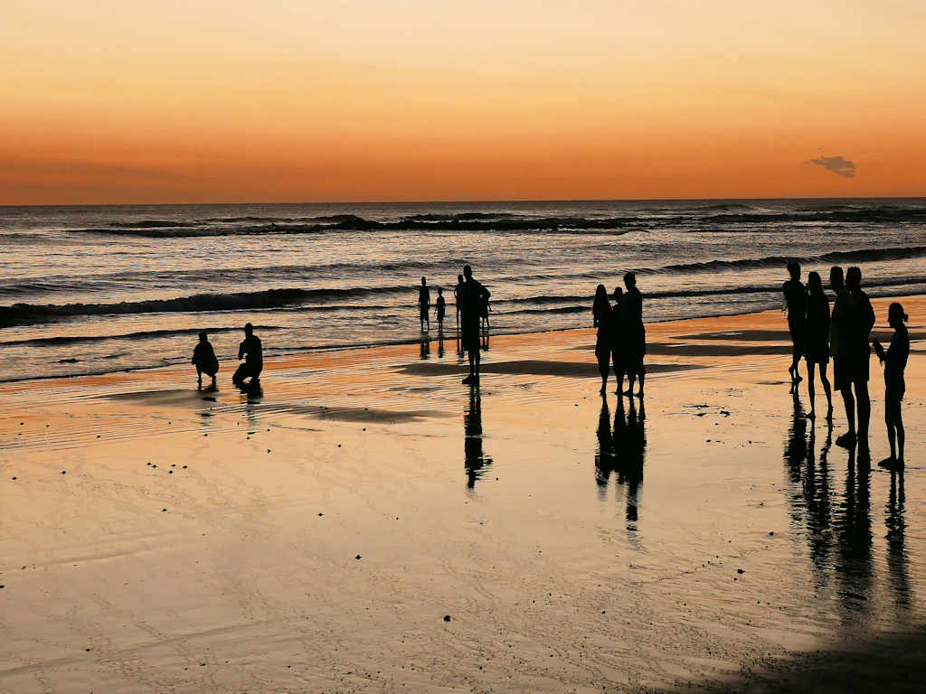 dark figures against a sunset on the beach, baby turtles on the sand in Costa Rica with kids