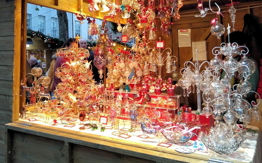 colourful glass ornaments at york christmas market