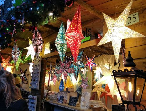 colourful stars at York xmas market