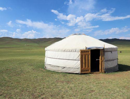 white yurt in Mongolia with kids