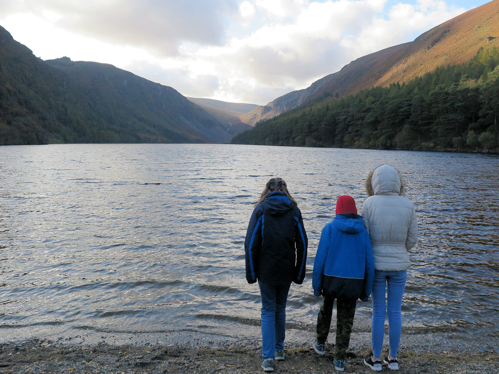 children at a lake Wicklow with kids