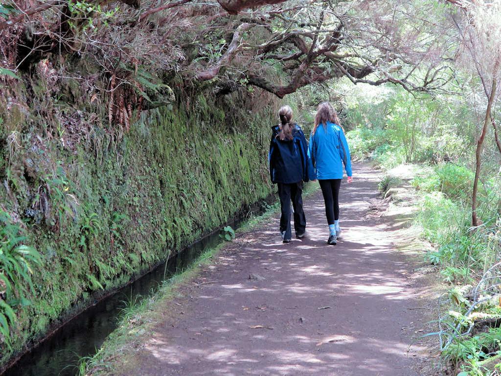 girls walking on levada hike in madeira