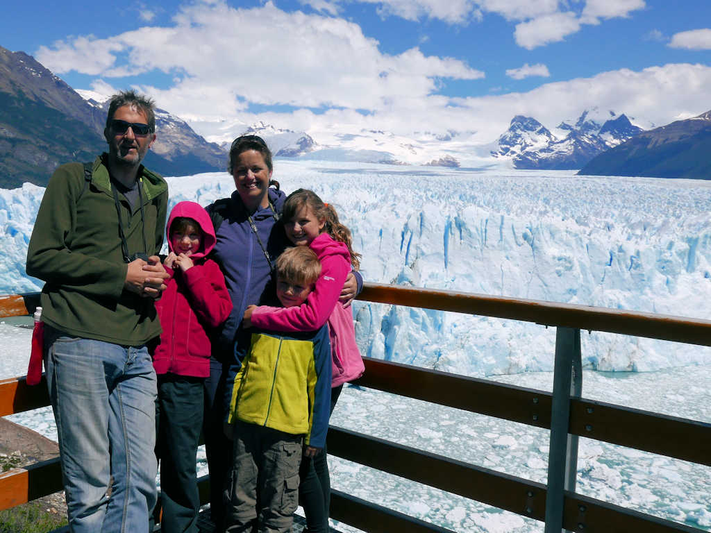 family in front of glacier family gap year