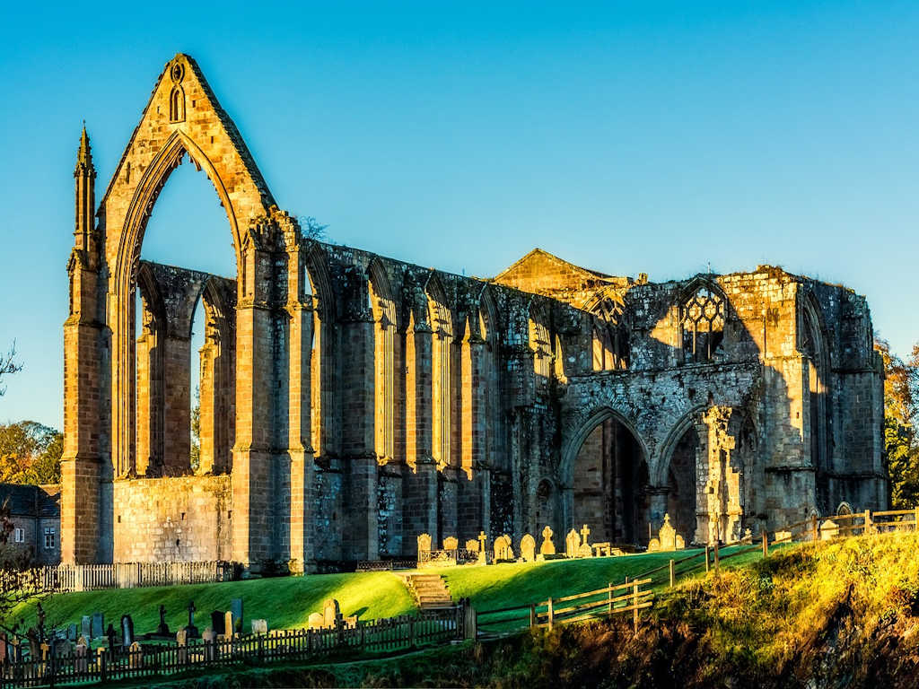 abbey ruins Yorkshire Dales sunset light
