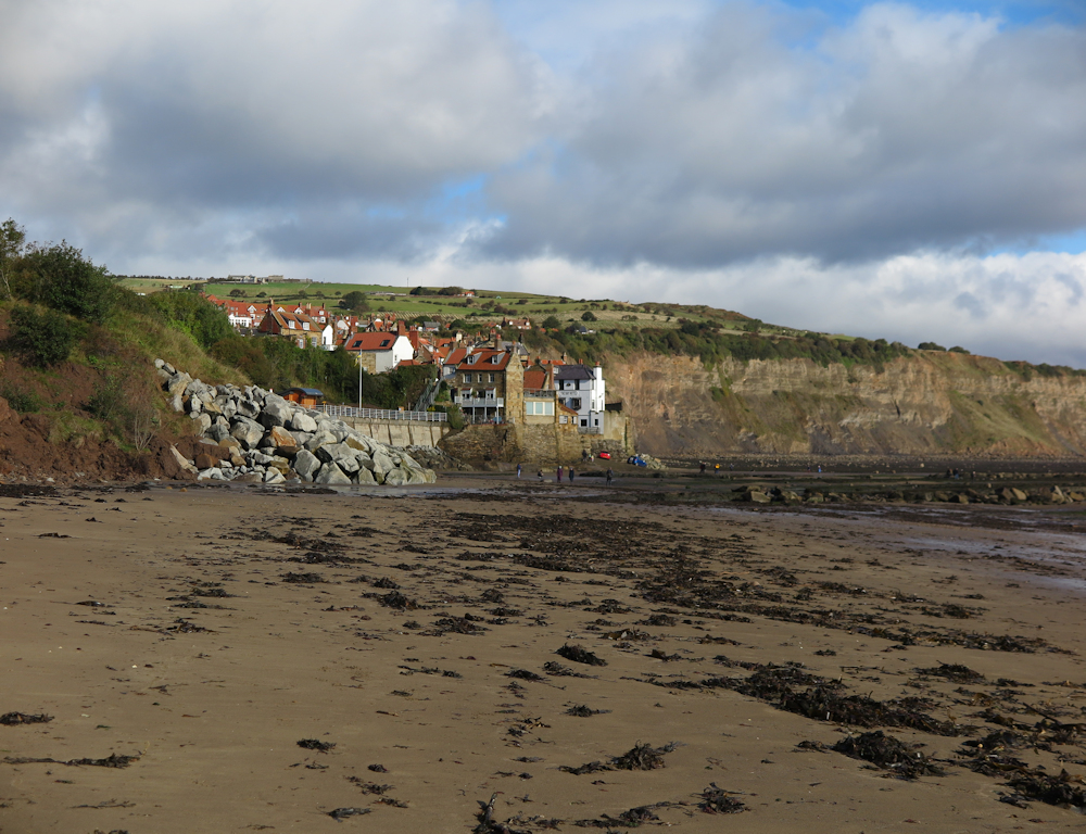 small village huddled on a hillside next to a sandy beach with seaweed on, beaches in Yorkshire
