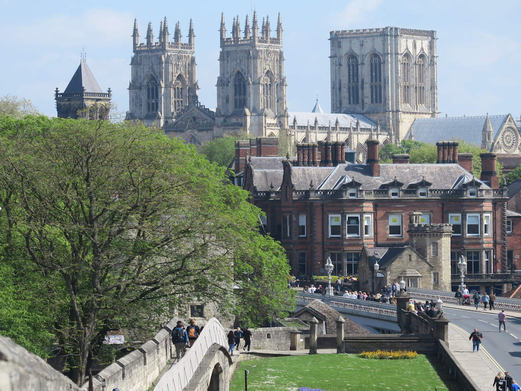 York city centre with city walls and York Minster
