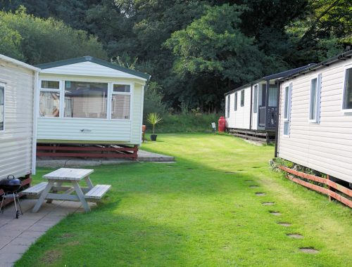 static caravans on green grass Cardigan Bay Holiday Park