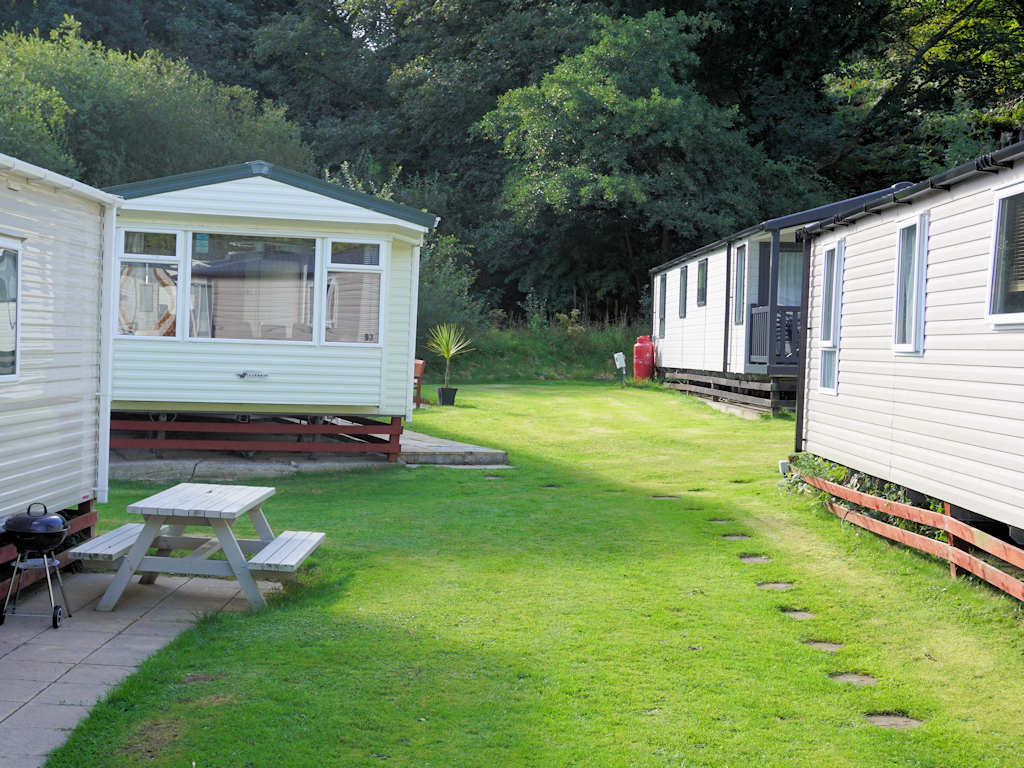 static caravans on green grass Cardigan Bay Holiday Park