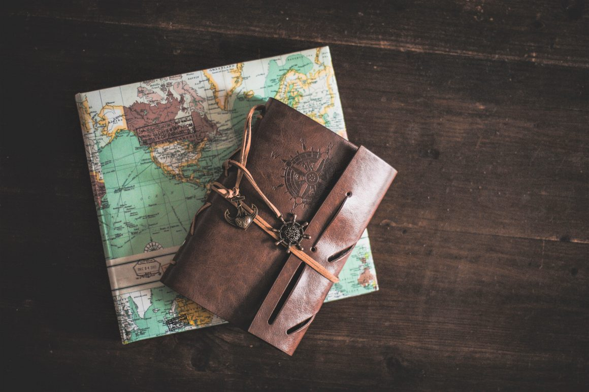 brown leather notebook on a folded map, gifts for mums who travel